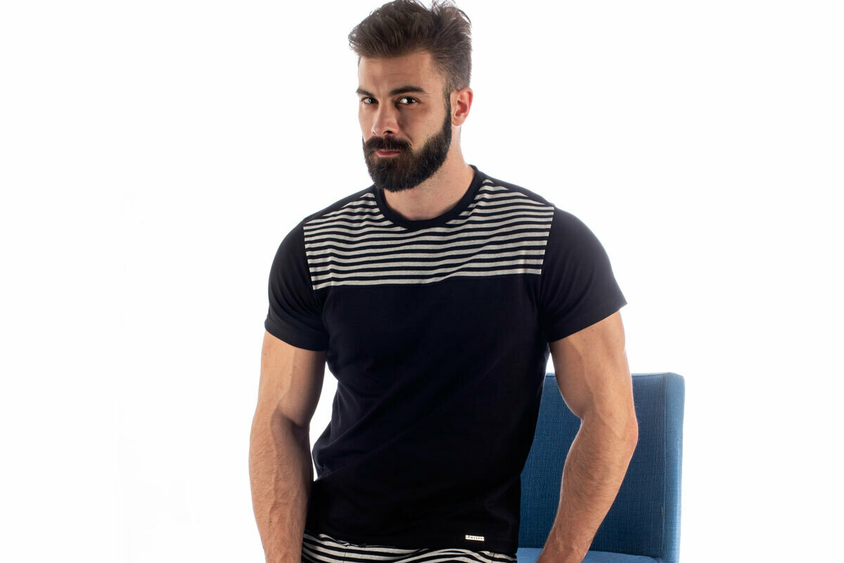 Manor Stripes Crno-Dvobojna Majica