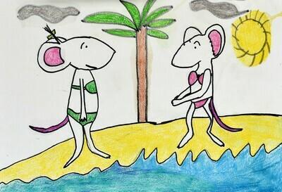 2 Mice in Bikinis on the Beach
