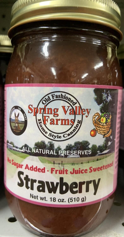 Spring Valley Farms No Sugar Added Fruit Juice Strawberry Preserves 19oz