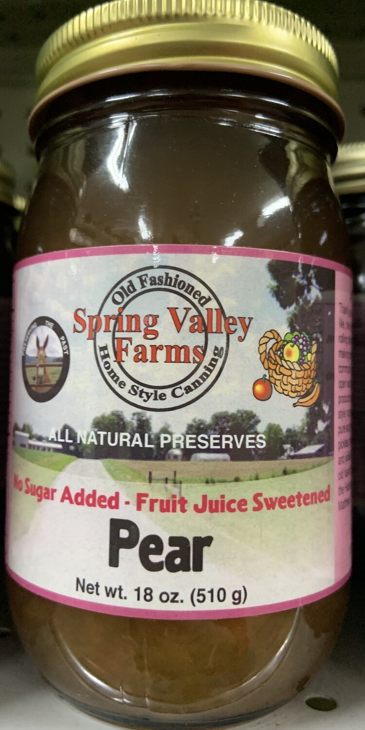 Spring Valley Farms No Sugar Added Fruit Juice Sweetened Pear Preserves 19oz