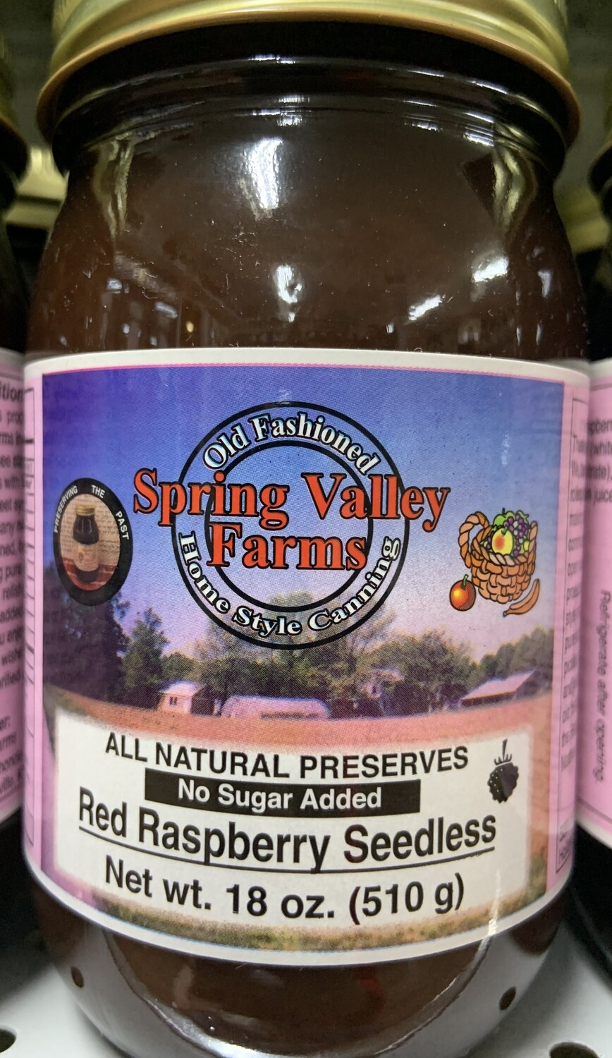 Spring Valley Farms No Sugar Added Fruit Juice Sweetened Red Raspberry Seedless Preserves 19oz