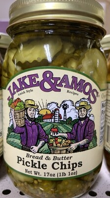Jake and Amos Bread and Butter Pickle Chips 16 oz