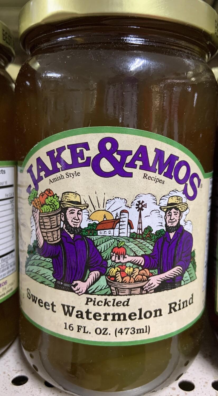 Jake & Amos Pickled Sweet Watermelon Rind 16 oz