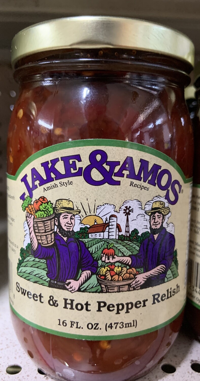 Jake & Amos Sweet and Hot Pepper Relish 16 oz