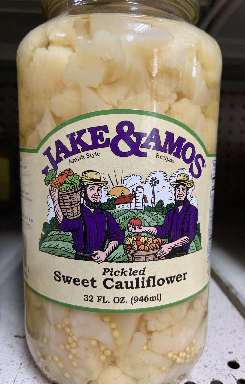 Jake and Amos Pickled Sweet Cauliflower 32 oz