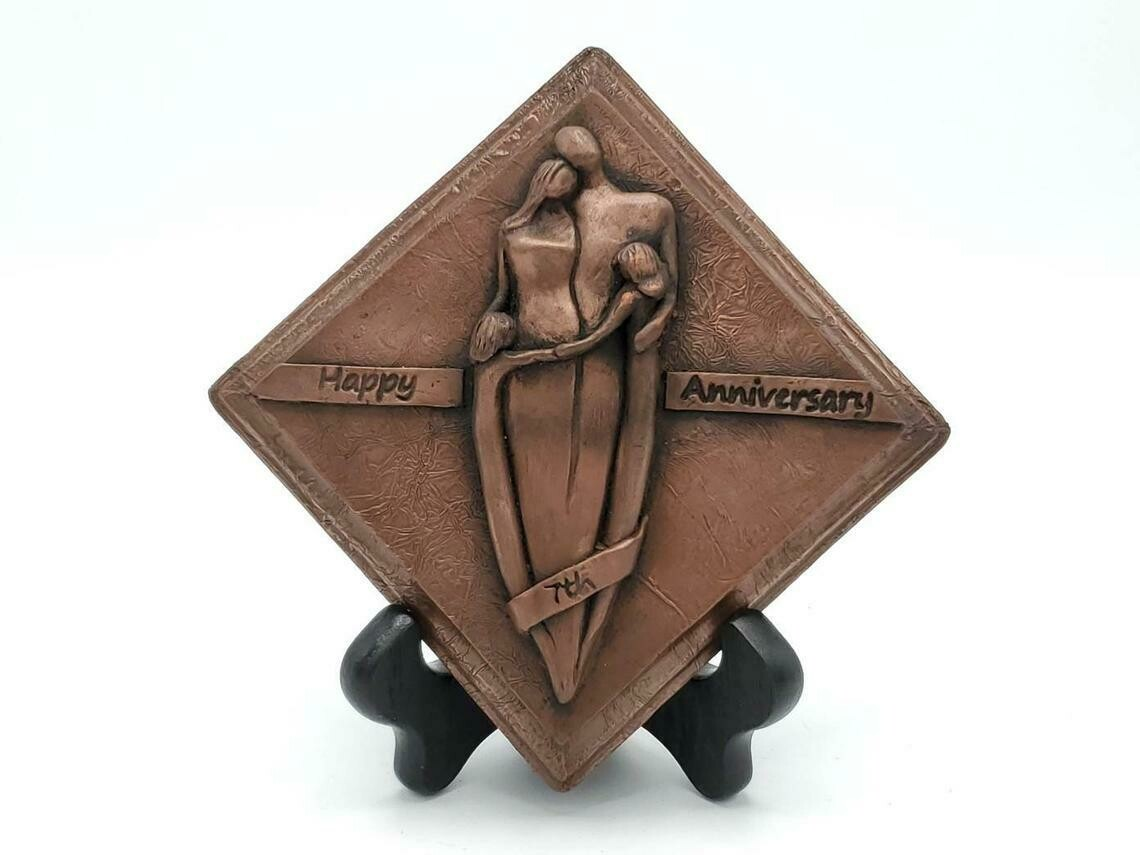 7th Anniversary Copper Plaque Family Sculpture Girl and Boy