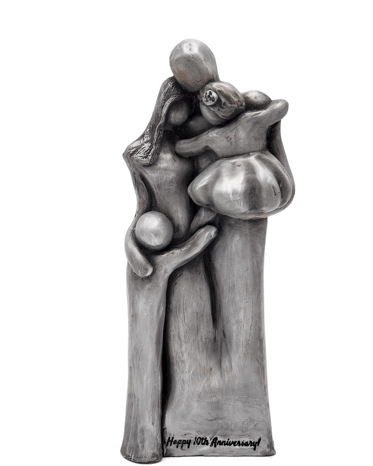 10th Anniversary Gift Aluminum Family Sculpture with Two Children