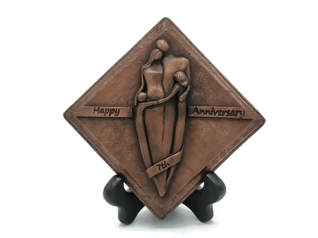 7th Anniversary Copper Plaque Family Sculpture with a Boy and Girl