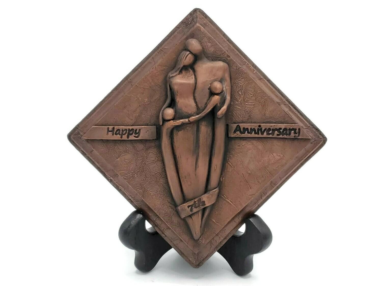 7th Anniversary Copper Plaque Family Sculpture Boys