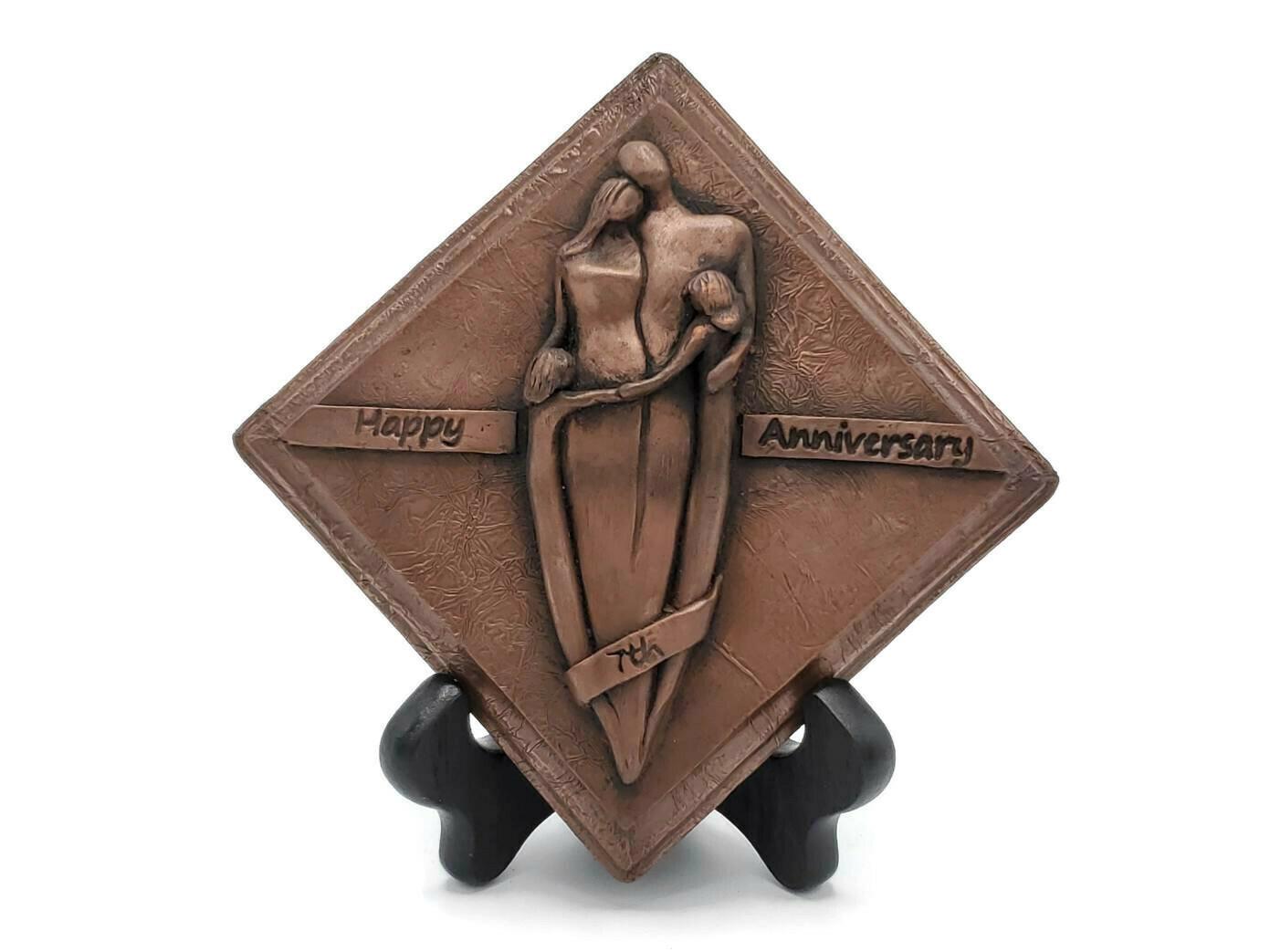 7th Anniversary Copper Plaque Family Sculpture Girls