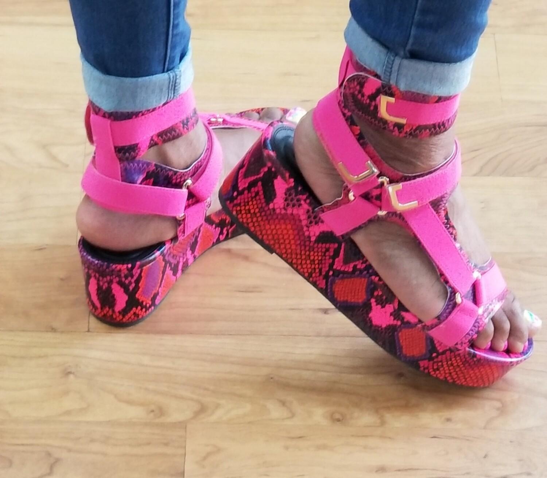 Pink Python Sandal