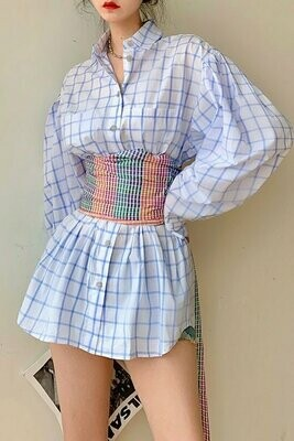Plaid Sleeve Wrapped Top