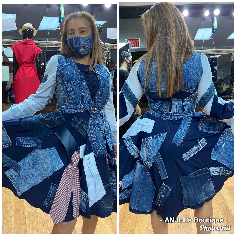 Denim Patchwork Skater Dress
