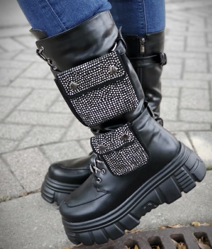 Bling Pocket Combat Boot