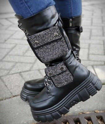 Bling Pocket Combat Boot