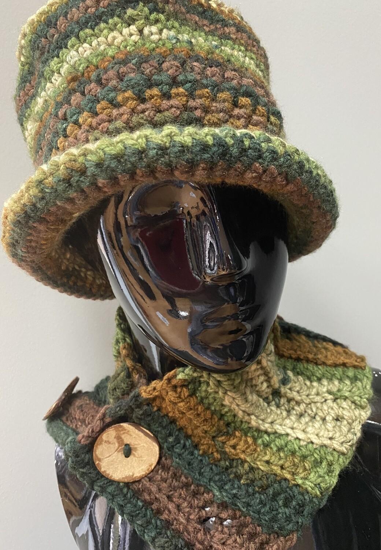 Camo Bucket Crochet Hat & Scarf Set