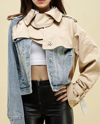 Short Denim Trench Jacket