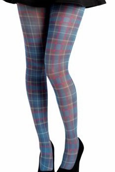 Plaid Tartan Tights - Teal