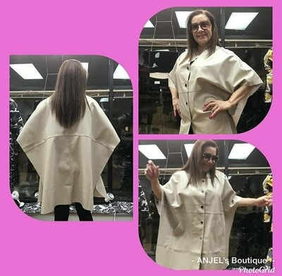 Sand Faux Leather Poncho