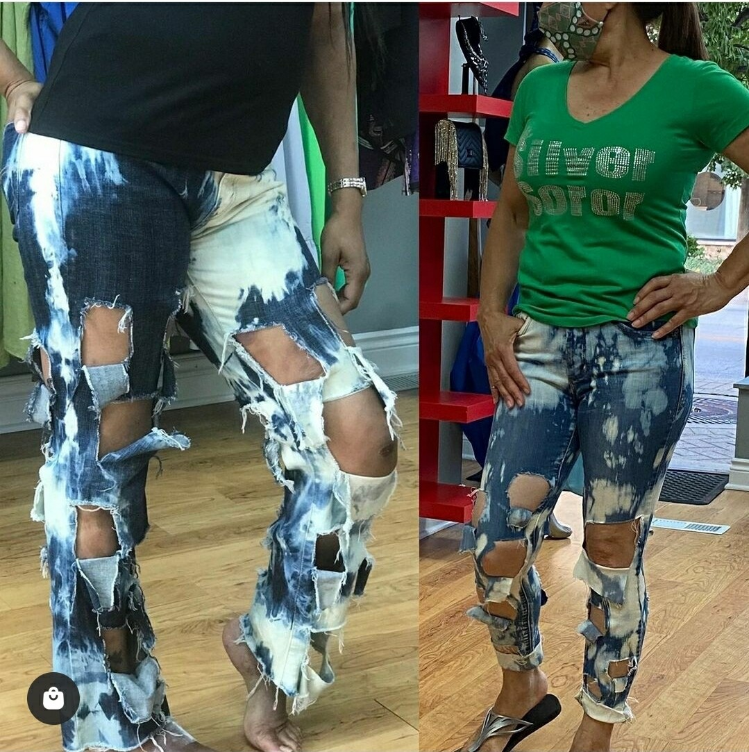Square Funky Bleached Jeans