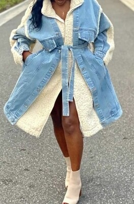 Faux Fur Denim Coat