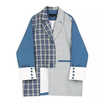 Asymmetrical Blue Plaid Blazer