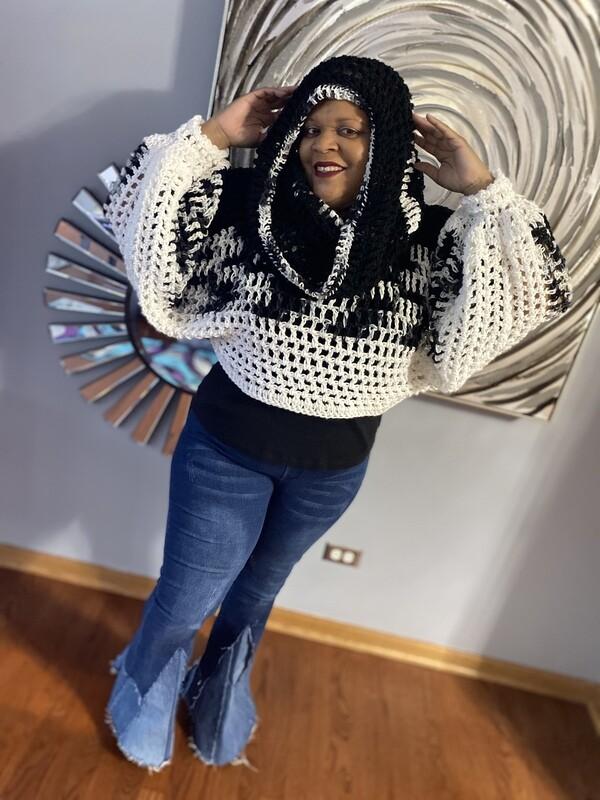 Black-N-White Blended Crochet Shrug