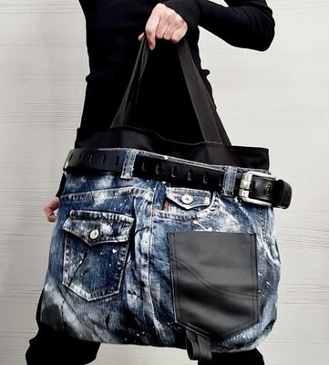 Denim & Buckle Oversize Bag