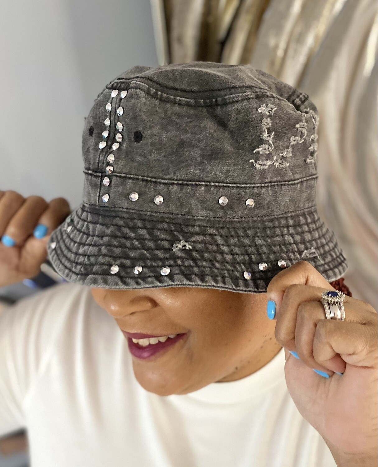 Distressed Bling Bucket Hats