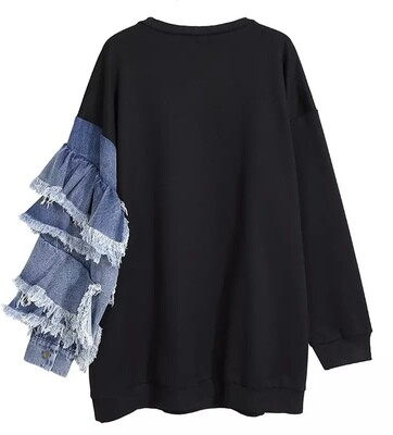 Denim Sleeve Sweatshirt