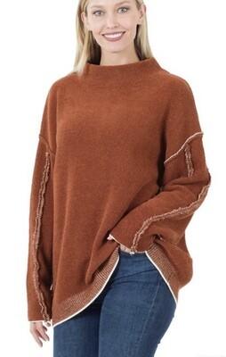 Rust Raw Seam Sweater