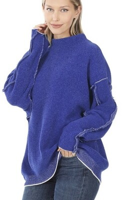 Blue Raw Seam Sweater