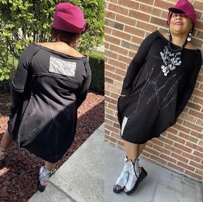 Black Splash Off-Shoulder Dress