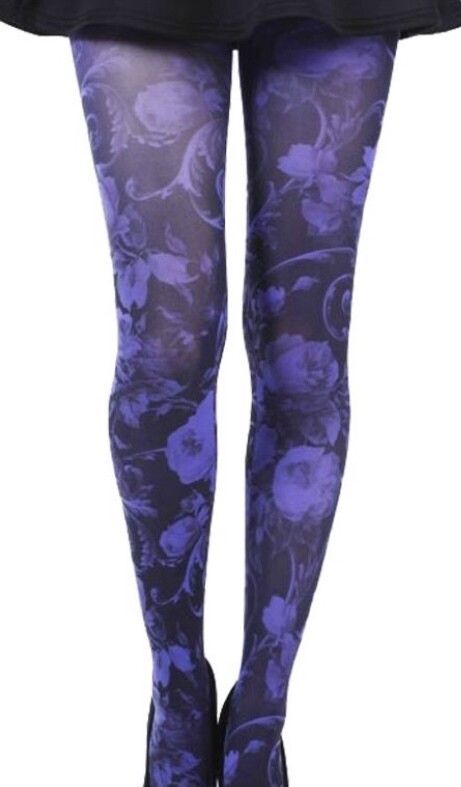 Purple Floral Tights
