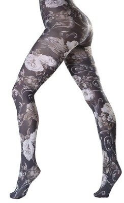 White Floral Tights