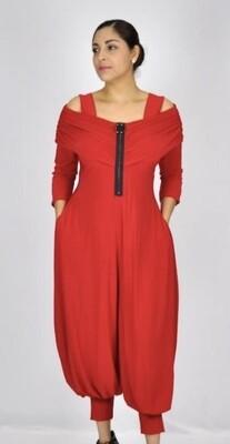 Red Off-Shoulder Jumpsuit