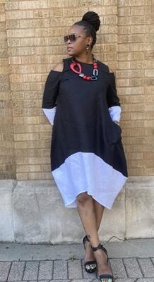 Cold Shoulder Linen Dress