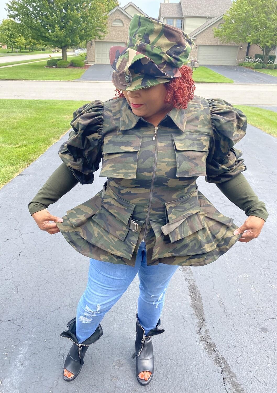 Camouflage Peplum Jacket