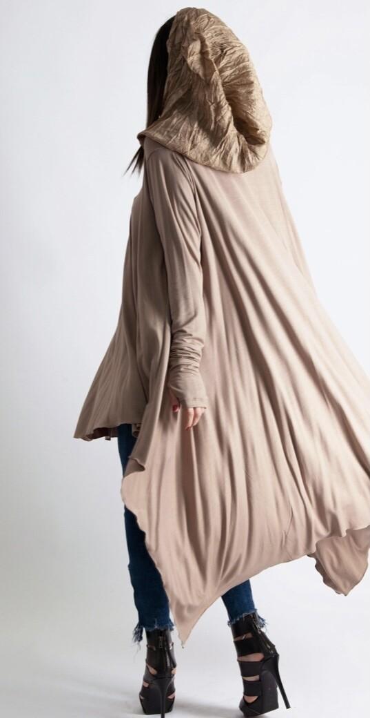 Beige Hooded Tunic
