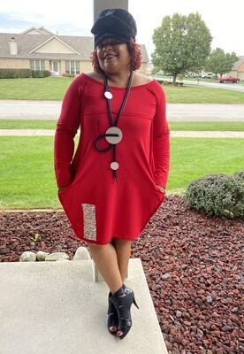 Red Splash Off Shoulder Dress