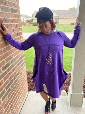 Purple Splash Off Shoulder Dress