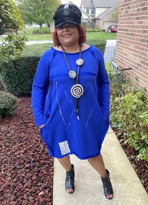 Royal Blue Splash Off Shoulder Dress
