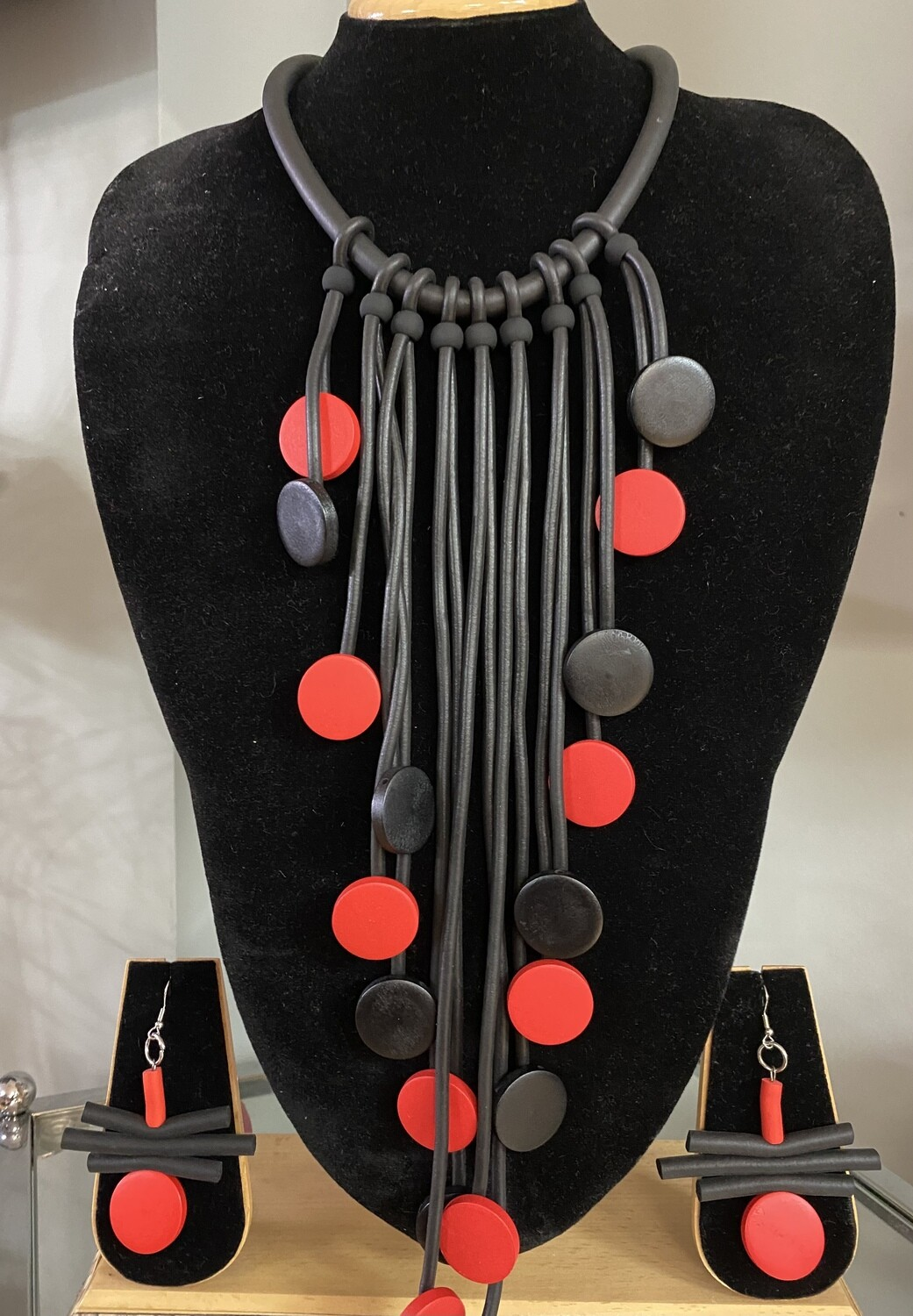Rubber Wood Beads Necklace Set