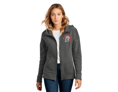 DT1104 District® Women's Perfect Weight® Fleece Drop Shoulder Charcoal Full-Zip Hoodie