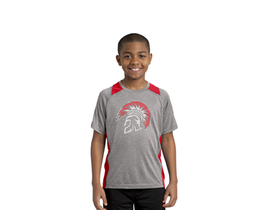 YST361 Sport-Tek® Youth Heather Colorblock Contender™ Tee