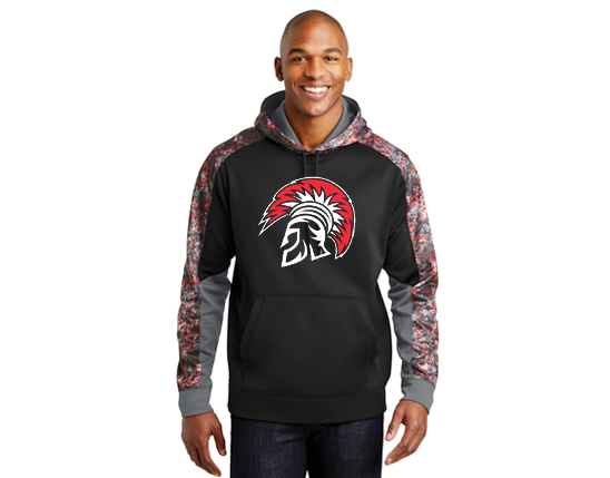 ST231 Sport-Tek® Sport-Wick® Mineral Freeze Fleece Colorblock Hooded Pullover - Deep red/black