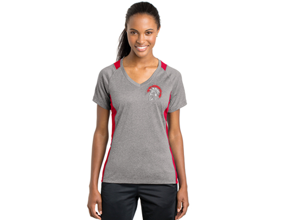 LST361 Sport-Tek® Ladies Heather Colorblock Contender™ V-Neck Tee