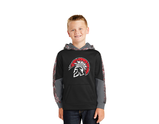 YST231 Sport-Tek® Youth Sport-Wick® Mineral Freeze Fleece Colorblock Hooded Pullover - Deep Red/Black