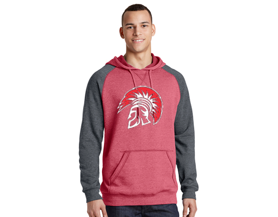DT196 District ® Lightweight Fleece Raglan Hoodie - Heather red & heather charcoal.