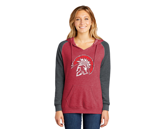 DT296 District ® Women's Lightweight Fleece Raglan Hoodie  - Heather red & heather charcoal.